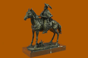 Frederic Remington Bronze Cowboy Mounted On Horse Statue Marble Base Rare Figur