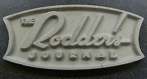 The Rodder S Journal Vtg Old Style Aluminum Car Club Plaque Hot Rod Rat Custom