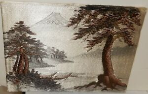 Japanese Silk Embroidery Tapestry Fuji Mountain River Landscape Painting Signed