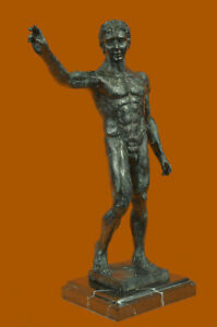 Close Out Nude Male Bronze Sculpture By Rodin Marble Base Statue Figurine Figure