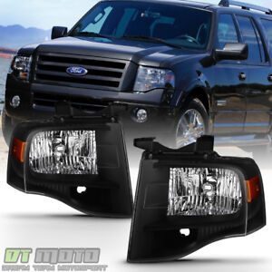 Black 2007 2014 Ford Expedition Headlights Lights Left right 07 08 09 10 11 14