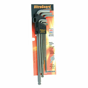 9pcs 1 5 10mm Ultraguard Super Long Metric Ball End Hex L Wrench Set No 57499