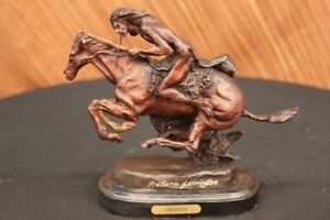 Frederic Remington Native American Indian Ridiny Bronze Horse Cheyenne Sculpture
