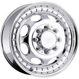 16x6 Chrome Vision Hauler Dually Dually Front Wheels 8x170 115 Ford