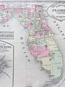 Florida 1886 Antique Maps Georgia South Carolina Arkansas Louisiana Mississippi