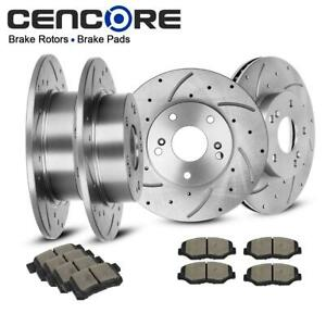 Front And Rear Drilled Slotted Brake Rotors ceramic Pads For Honda Accord 03 07