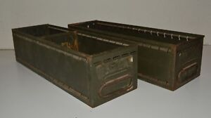 2 Vintage Army Green Industrial Metal File Cabinet Drawers 5 5 X 4 75 X 18