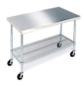 Stainless Steel Top Work Table Kitchen Restaurant Prep Nsf Casters 24 X 49