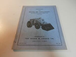 Ih International Hough He Pay Loader Payloader Parts Catalog Manual He 5