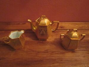 Vintage Gold Encrusted Tea Set Teapot Cream Sugar Rhoades Cam Eich