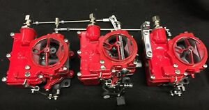 Vintage Speed Rochester 2g 3 X 2 Carb Set In Baron Red Tri Power Hot Rod