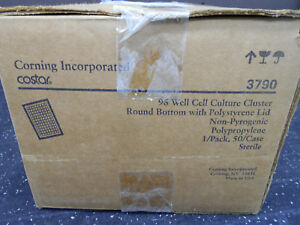 Corning Costar 3790 96 Well Cell Culture Cluster Round Bottom W Lid 50 cs
