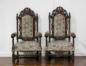 1107011 Antique Pair Of French Renaissance Carved Hunt Style Arm Chairs