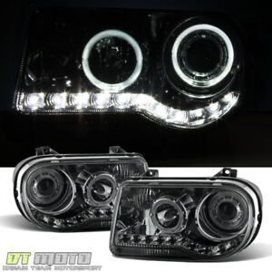 Smoked 2005 2010 Chrysler 300c Led Halo Projector Headlights 05 10 Left Right