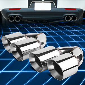 2pcs Universal Stainless Steel Racing 2 5 id Dual Quad Exit Exhaust Muffler Tips