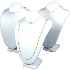 3 Necklace Bust White Faux Leather Jewelry Display