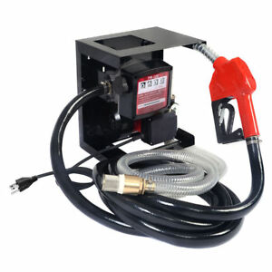 Electric Diesel Kerosene Oil Transfer Pump Handle Fuel Manual Nozzle Hose Meter