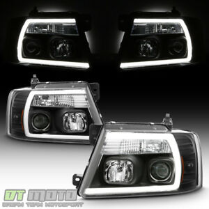 Black 2004 2008 Ford F150 F 150 Led Light Tube Projector Headlights Headlamps