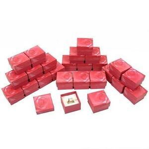 Pink Rose Filled Cotton Ring Gift Boxes Jewelry Displays Kit 100 Pcs