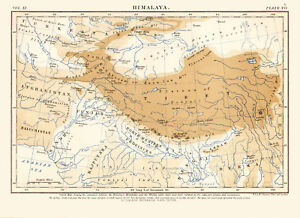 1878 Color Map Of The Himalayas Tibet Northern India Great Detail