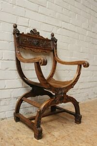 1112005 Antique French Carved Renaissance Carved Dagobert Arm Chair