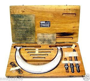 Tumico Tubular Micrometer Set Wooden Box Great Original Condition Made In Usa