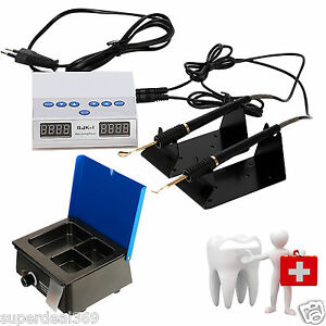 Dental Lab Electric Wax Carving Double Pen W Tips Analog Waxer Dipping Pot Ce