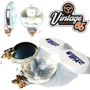 Classic Car Genuine Wipac New Front Chrome Fog Lights Driving Lamps Covers