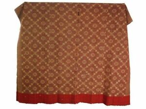 Jacquard Overshot Coverlet Pennsylvania Antique 19th C Brown Green Red 36 X72