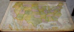 Antique Canvas United States Pull Down Map Of Territorial Possessions