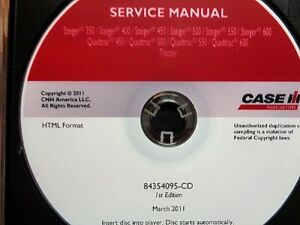 Case Ih Steiger 350 450 500 550 600 quadtrac Tractor Service Manual Cd Oem 2011
