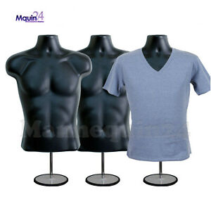 3 Pack Male Torso Mannequins 3 Black Men Forms 3 Stands 3 Hangers