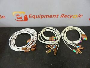 Gold Cup Electrode Ekg Eeg Leads Electrodes Color Coded Lot Of 3