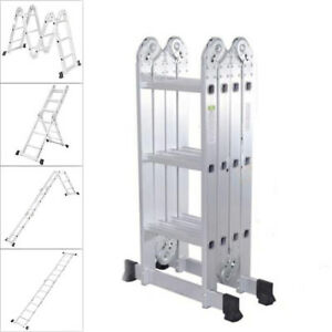 12 5ft Multi Purpose Aluminum Folding Step Ladder Scaffold Telescopic Extension