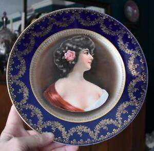 Lovely Royal Austria O E G Cobalt Gold Filigree Trmd Female Portrait Plate 1