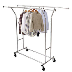 Commercial Grade Collapsible Clothing Cloth Rolling Double Garment Rack Hanger