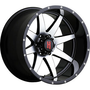 20x12 Black Machined Havok H112 6x5 5 24 Rims Country Hunter Mt 33 Tires