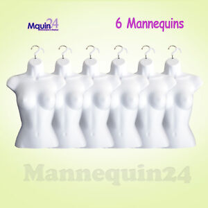 6 Pcs Female Mannequin Torsos 6 White Plastic Women Hanging Dress Forms
