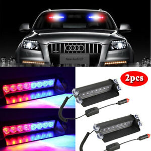 2x 8 Led Car Truck Dash Strobe Flash Red Blue Light Emergency Police Warning Usa