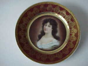 Fine Antique Hand Painted Royal Vienna Portrait Cabinet Plate Amicitia