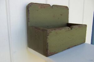 Primitive Rustic Painted Country Mailbox Candle Box Mail Shelf Wall Salt Spice