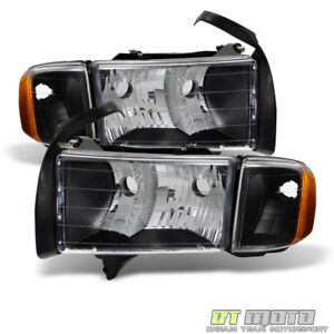 Black 1999 2000 2001 Dodge Ram 1500 Sport Model Headlights Headlamps W Corner
