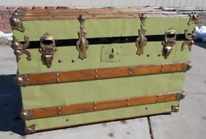 Kw 632 Metal Wood Steamer Trunk Nicely Refinished Coffee Table Steampunk Flat T