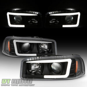 Black 1999 2006 Gmc Sierra Yukon Denali Led Tube Projector Headlights Headlamps