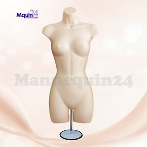 Female Torso Mannequin Dress Form Flesh W Metal Stand Hanging Hook