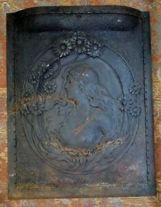 Antique Art Nouveau Cast Iron Fireplace Cover Stove Furnace Plaque 20 X 25 1 2