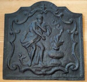 Antique Classical Cast Iron Fireplace Cover Stove Furnace Plaque 20 1 4 X 20 1 2