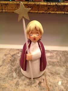 Henning Norway Handcarved Wood Christmas Choir Boy With Star 5 Inches Tall