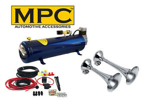 2 trumpet Train Air Horn Kit For Trucks Complete 12v System Includes Everything
