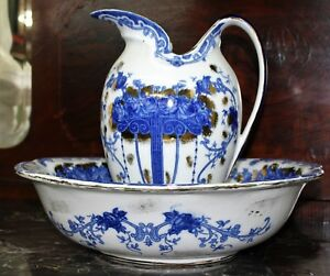 Antique English Wrr And Co Delaware Pitcher And Bowl Set Circa 1870